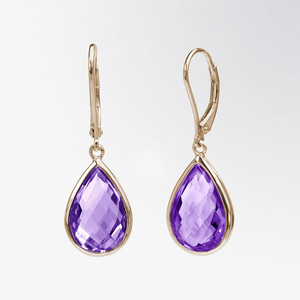 Pear Shaped Amethyst Drop Earrings