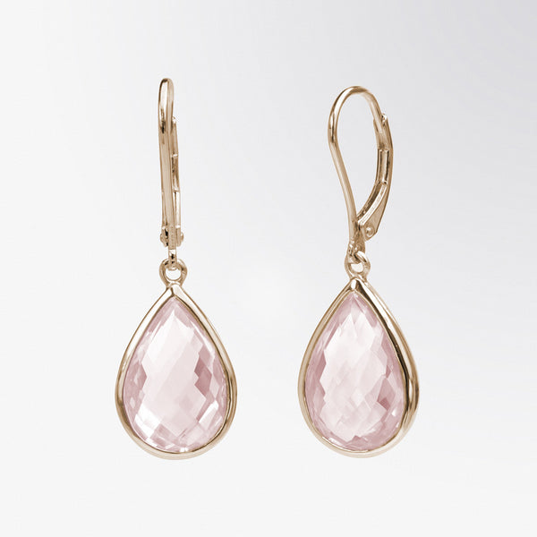 Pear Shaped Rose Quartz Drop Earrings