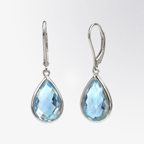 Pear Shaped Blue Topaz Drop Earrings