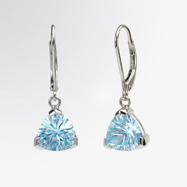 Trillion Shaped Blue Topaz Earrings