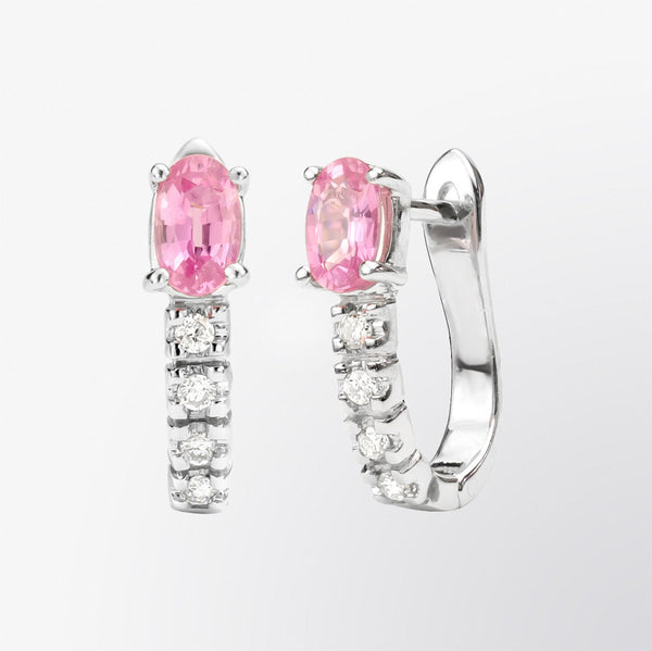 Oval Shaped Pink Sapphire Hoop Earrings