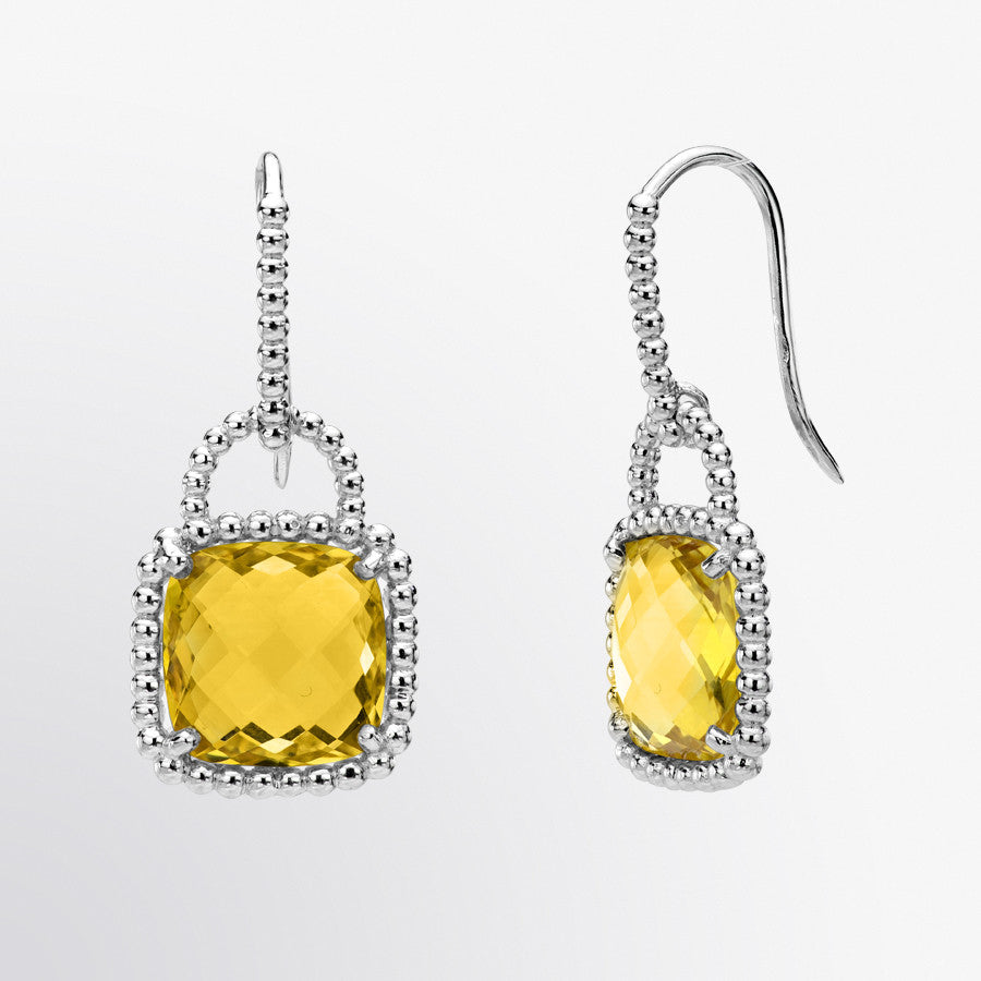 Cushion Cut Citrine Lock Earrings