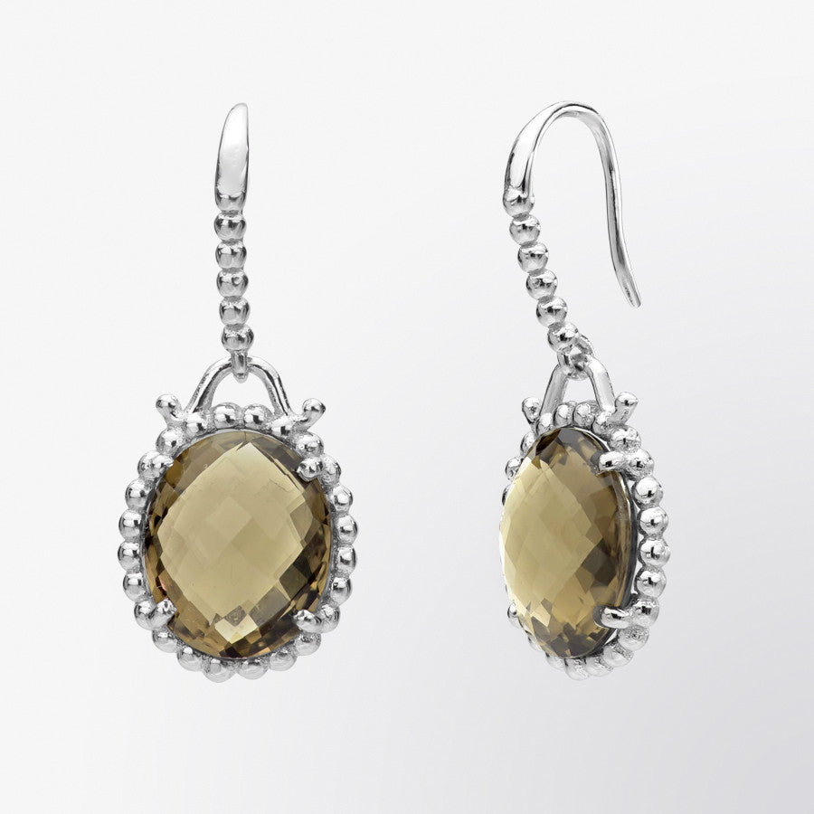 Oval Shaped Smoky Topaz Drop Earrings