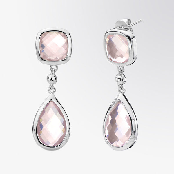 Rose Quartz Mixed Cut Earrings