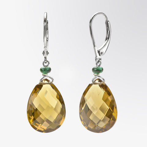 Champagne Quartz and Emerald Drop Earrings