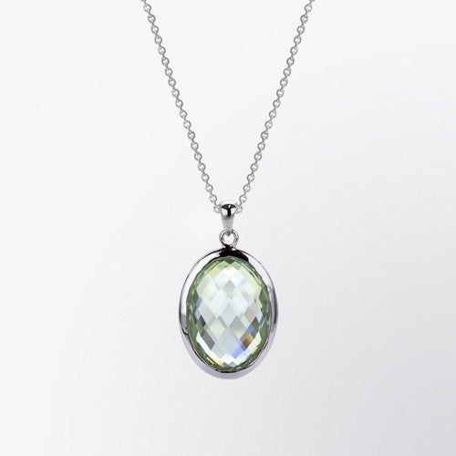 Oval Shaped Green Ameythst Pendant