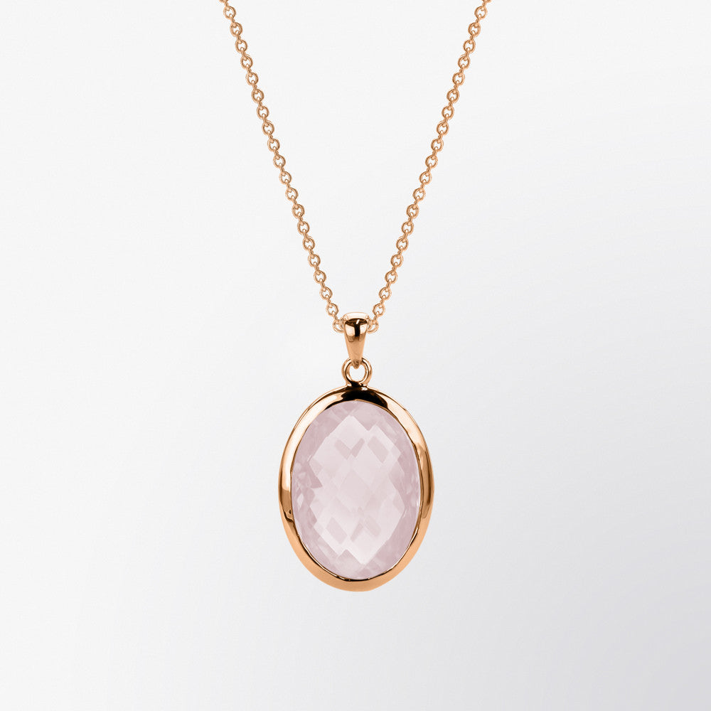 Oval Shaped Rose Quartz Pendant