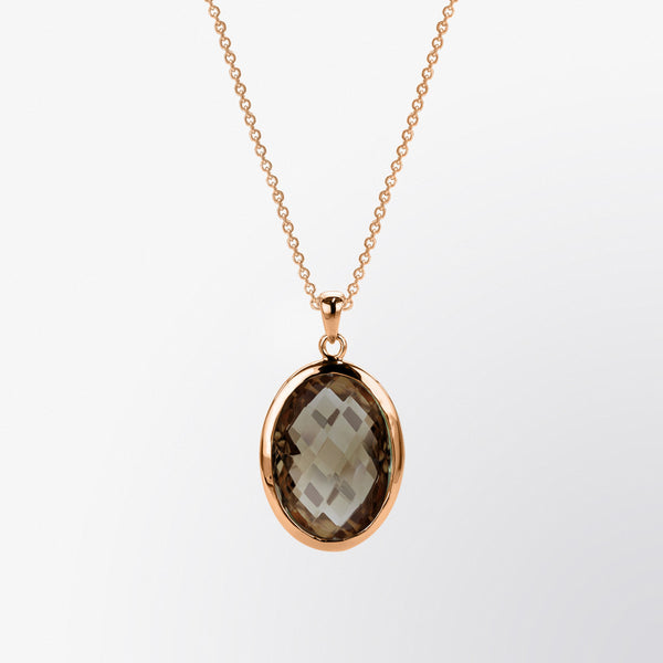 Oval Shaped Smoky Topaz Pendant