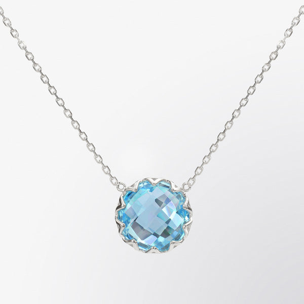 Round Shaped Blue Topaz Pendant