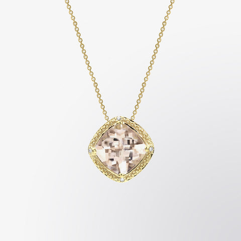 Cushion Cut Morganite and Diamond Pendant