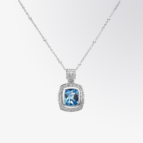 Blue Topaz and White Topaz Pendant