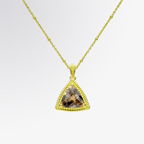 Trillion Cut Smoky Topaz Pendant