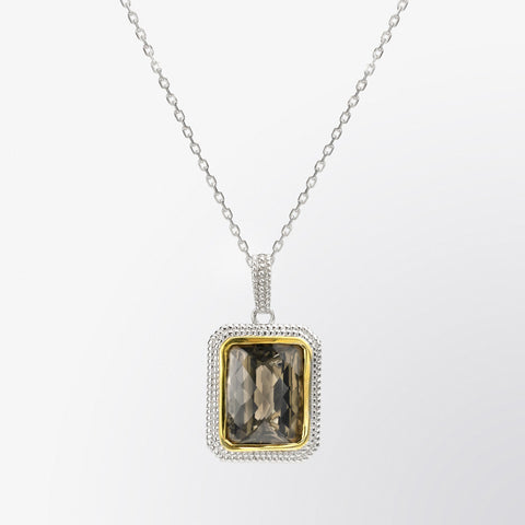Smoky Topaz Double Halo Pendant