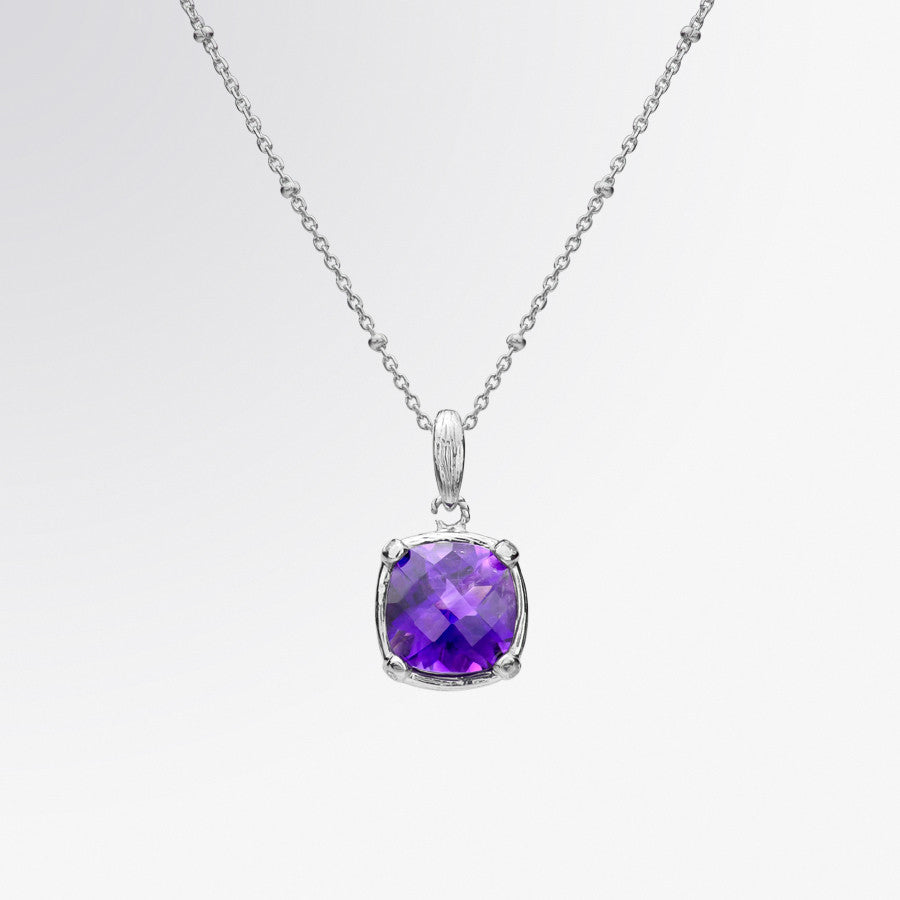 Cushion Cut Amethyst and Diamond Pendant
