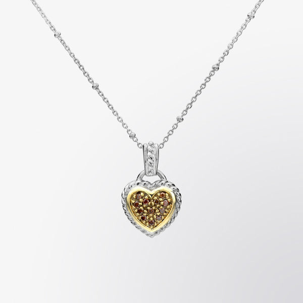 Heart Shaped Brown Diamond Pendant