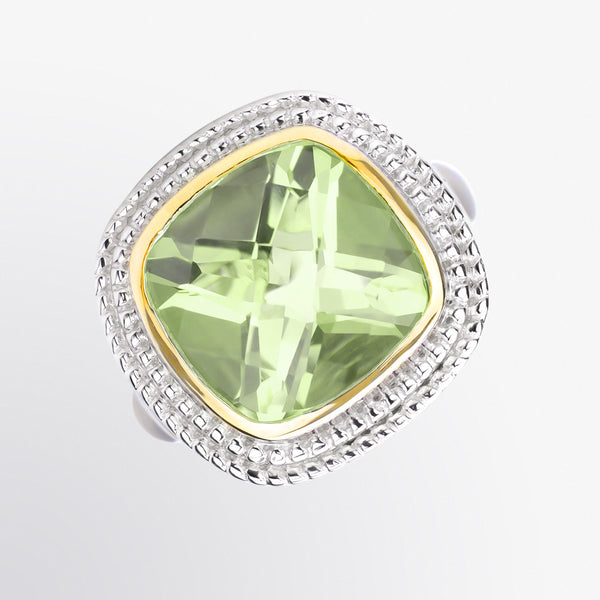 Green Amethyst Double Halo Ring