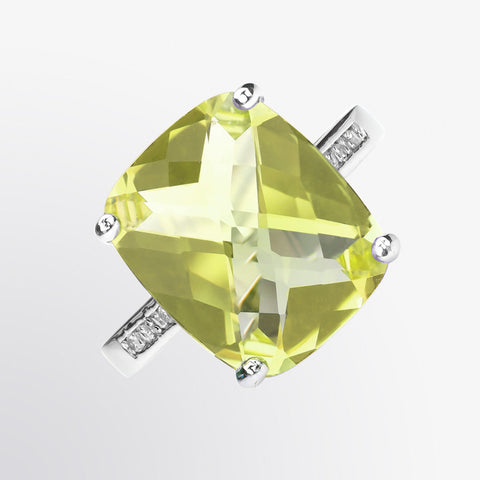 Lemon Quartz and Diamond Ring