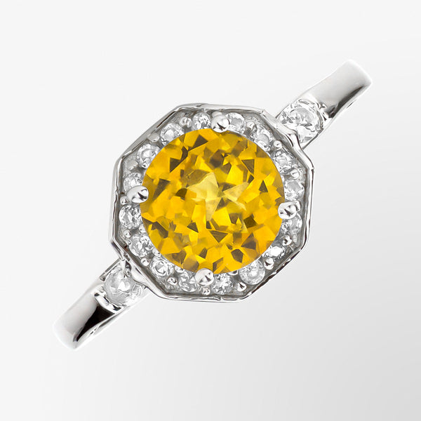 Citrine and White Topaz Cocktail Ring