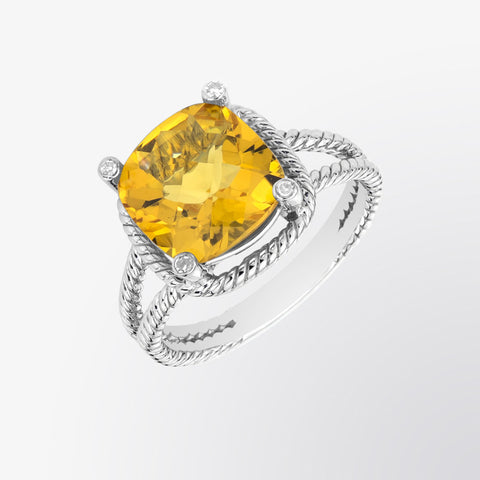 Citrine and Diamond Cable Ring