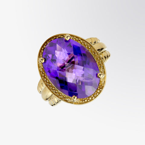 Oval Shaped Amethyst Ring