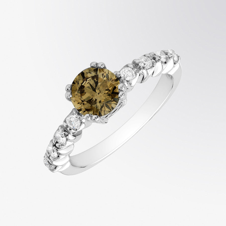 Brown Diamond and Diamond Ring