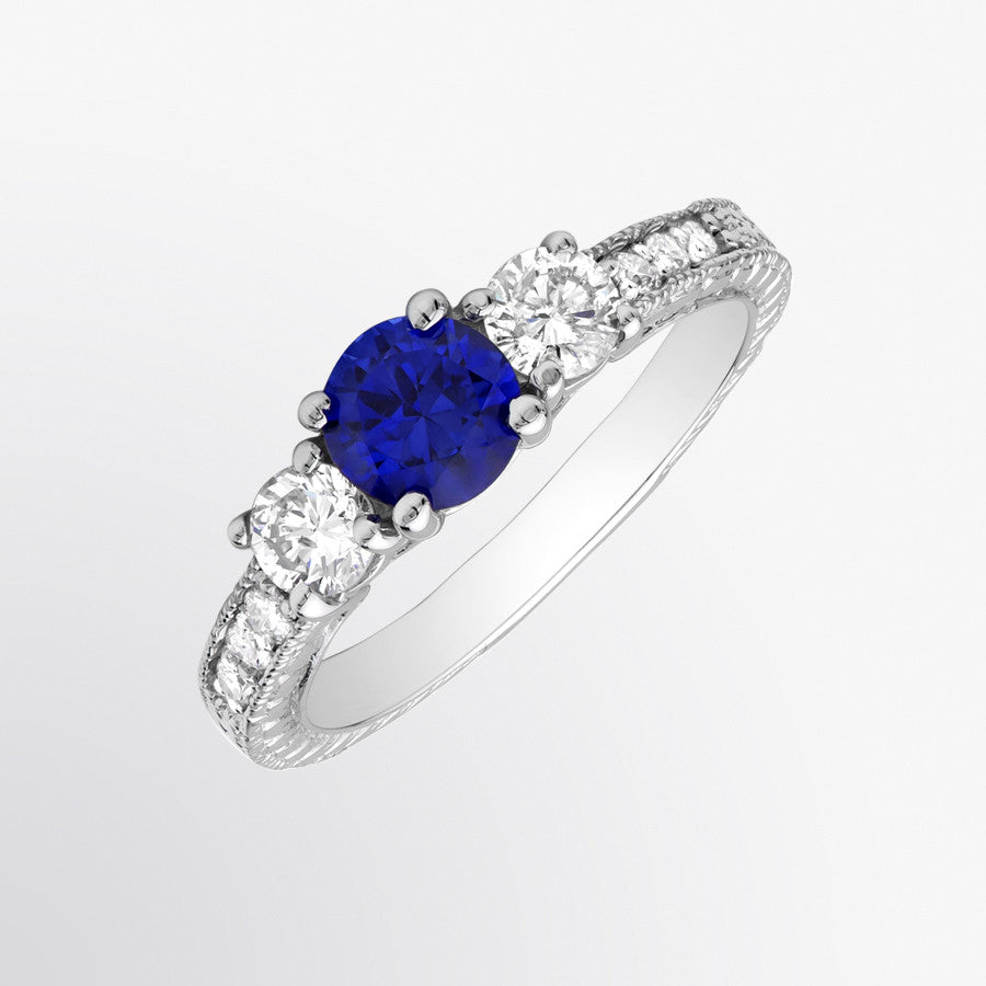 Three Stone Vintage Blue Sapphire and Diamond Ring