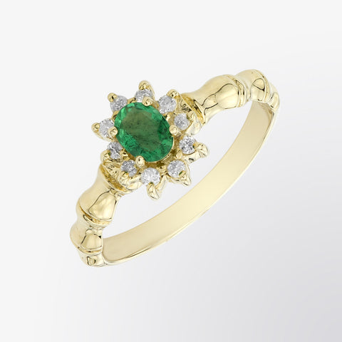 Emerald and Diamond Flower Ring