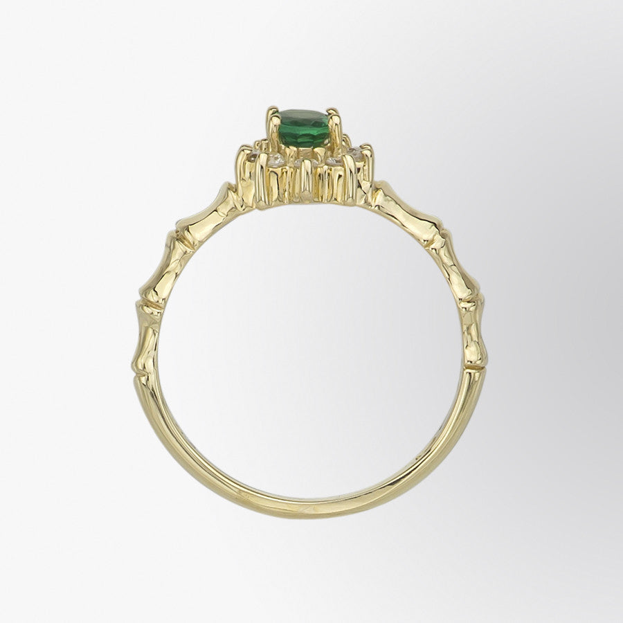 Fifth Bond Emerald And Diamond Flower Ring