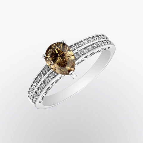 Brown Diamond and Diamond Double Shank Ring