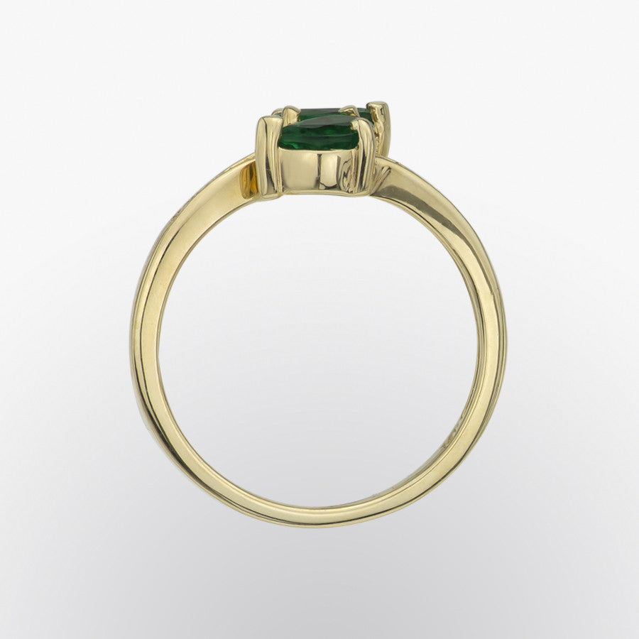 Emerald and Diamond Double Pear Ring