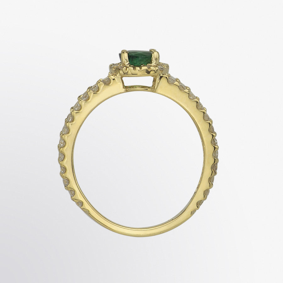 Emerald and Diamond Split Shank Ring