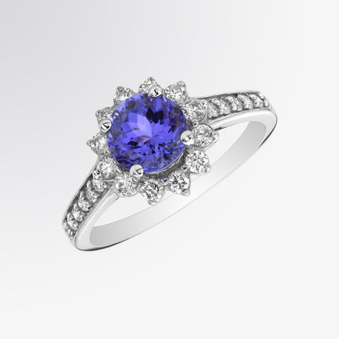 Tanzanite and Diamond Flower Ring