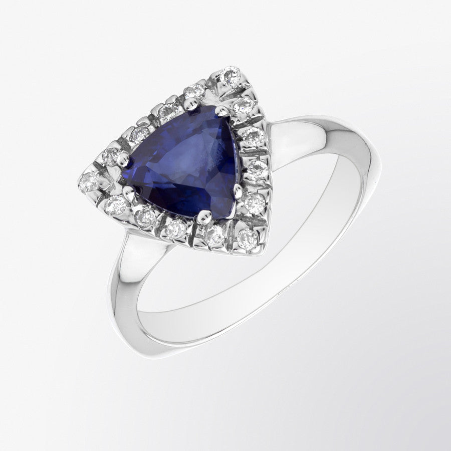 Trillion Cut Blue Sapphire and Diamond Ring