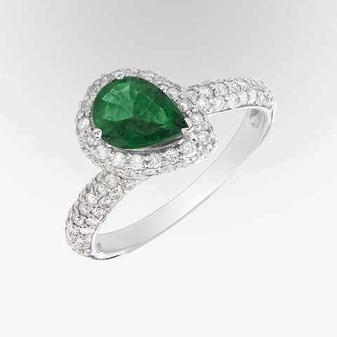 Pear Shaped Emerald and Diamond Ring