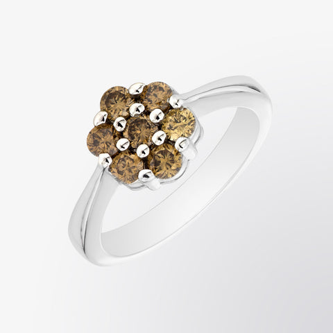 Brown Diamond Flower Ring