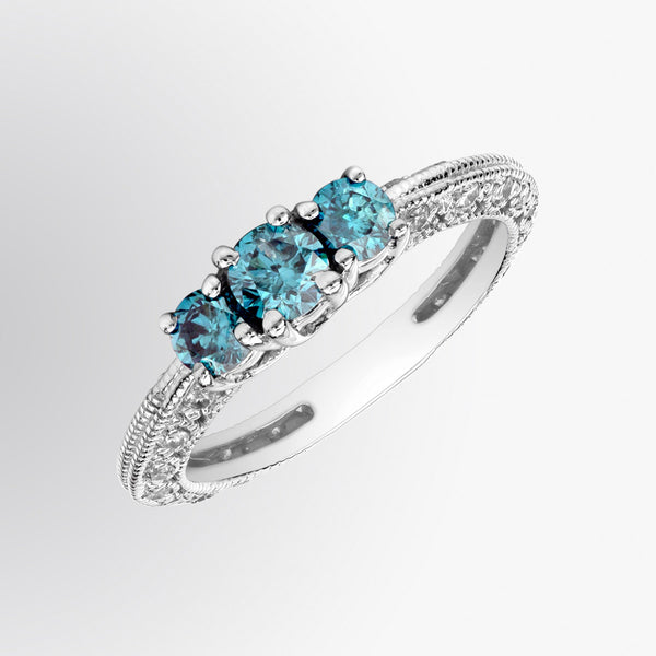 Vintage Blue Diamond Ring