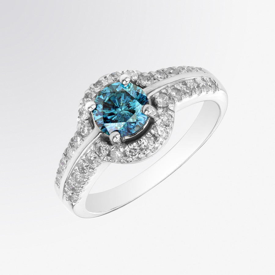 Blue Diamond and Diamond Halo Ring