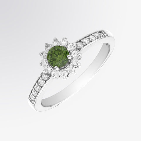 Green Diamond and Diamond Flower Ring