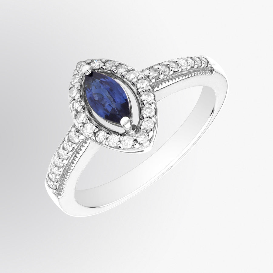 Marquise Cut Blue Sapphire and Diamond Ring