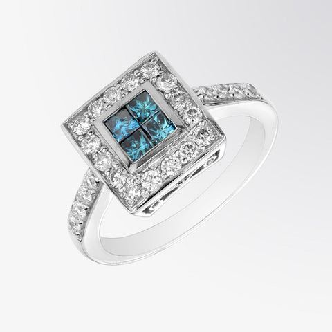 Channel Set Blue Diamond and Diamond Ring