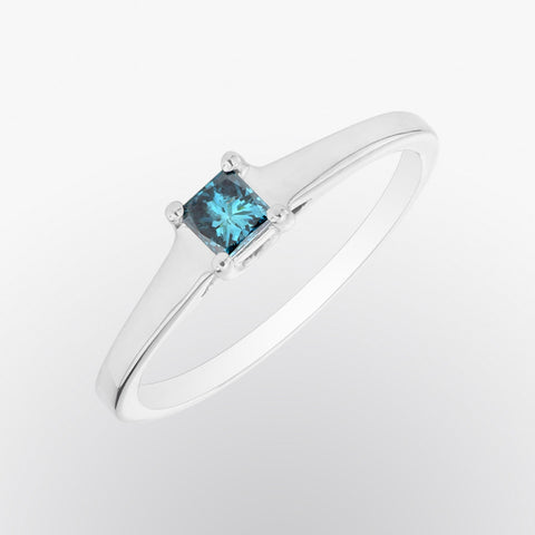 Princess Cut Blue Diamond Solitaire Ring