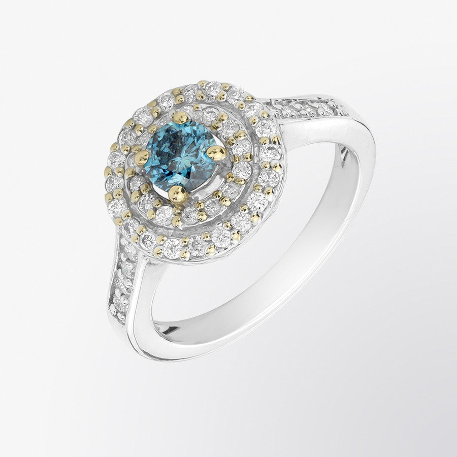 Blue Diamond and Diamond Double Border Ring