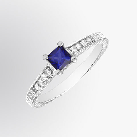 Princess Cut Vintage Blue Sapphire and Diamond Ring