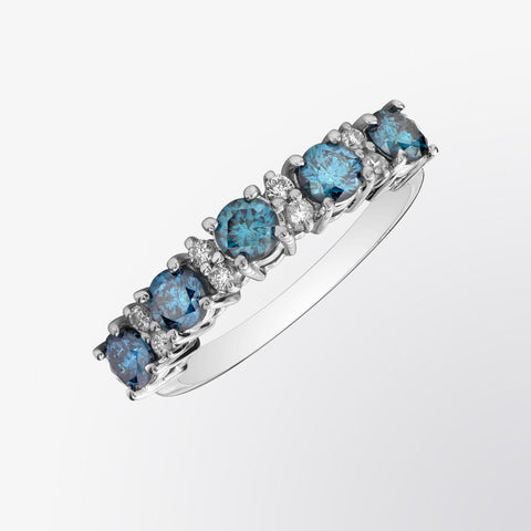 Five Stone Blue Diamond and Diamond Ring