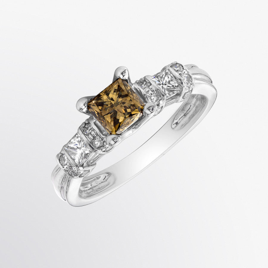 Mixed Cut Brown Diamond and Diamond Ring