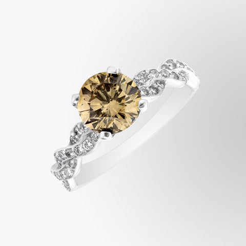 Brown Diamond and Diamond Roped Ring