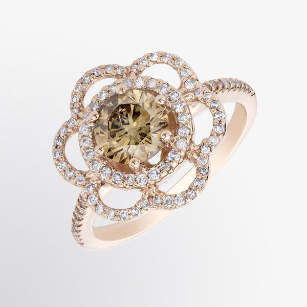 Brown Diamond and Diamond Flower Ring