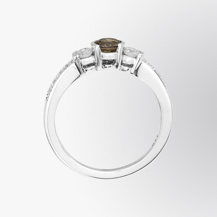 Three Stone Brown Diamond and Diamond Ring