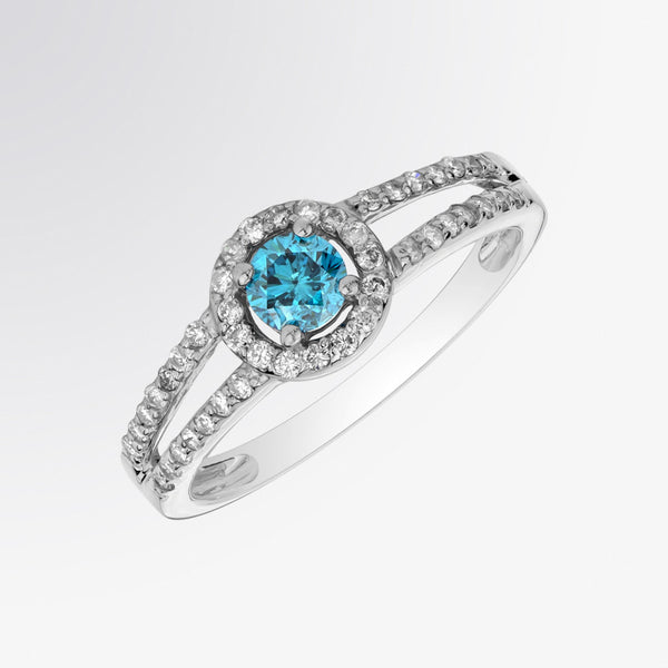 Blue Diamond and Diamond Split Shank Ring