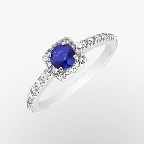 Classique Blue Sapphire and Diamond Ring